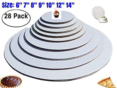 - The Bakers Pantry - cake circles-, Sturdy White Corrugated Cardboard, 100% Food Safe (6