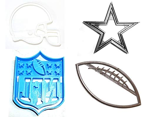 DALLAS COWBOYS NFL FOOTBALL LOGO HELMET SET OF 4 SPECIAL OCCASION COOKIE CUTTERS BAKING TOOL 3D PRINTED MADE IN USA PR1131