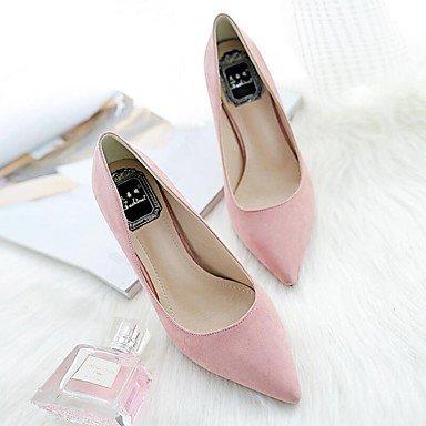 Talones de las mujeres Zapatos Primavera Verano Otoño Invierno club Comfort PU Suede Oficina boda y carrera vestido de tacón de aguja OthersBlack Rosa Gris Pink