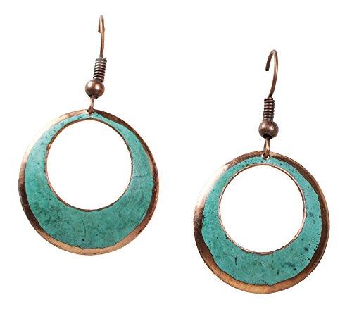 Copper Earrings, Circular, Green Patina, Small
