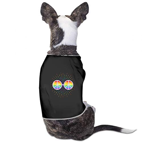 VNASKL Fashion Unique Custom Pet Costume Hippie Sunglasses Rainbow Lenses Peace Sign Printing Cute Leisure Teddy Puppy Pet Dog Clothes Dog Pet Pajama Dog Shirt for Large Medium Small Dogs Cats -
