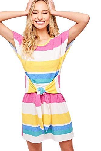 Multi Stripe Dress - THFB Women's Multi Stripe Short Sleeve Belted Dress (Medium)