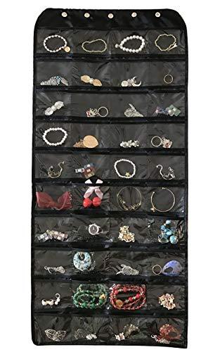 Brotrade Hanging Jewelry Organizer,Accessories Organizer,Oxford 80 Pocket Organizer For Holding Jewelries (Black) by brotrade (Image #5)