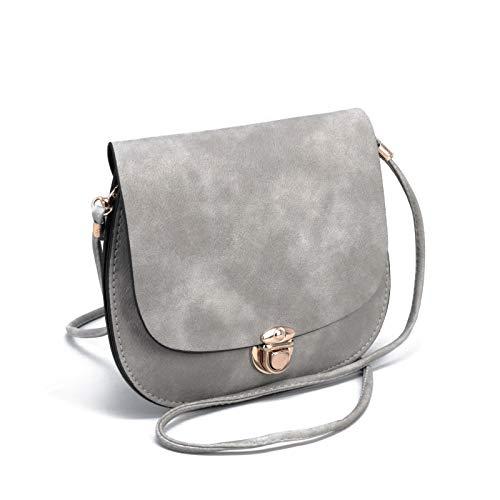 (Light Grey Woman's Matte Cross body Flap Bag | Gray Round Circle Ladies Purse (gray))