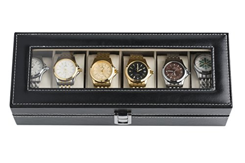 Harwoo Brand Hot Popular Classical Low Cost Black 6 Slot Leather Watch Box Decoration & Storage Velvet Jewelry Display Case 6 Slot With Lock For Men Women Girls Teen Personalized - Kids Cost Glasses