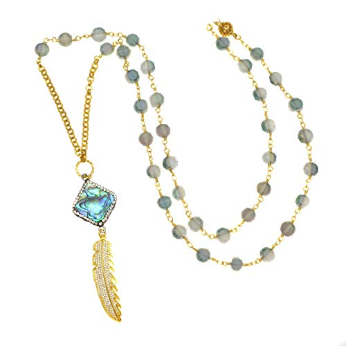 Abalone Square and Pave Gold Plated Feather on Czech Glass Beaded Chain - Pendant - Czech Beaded Necklace