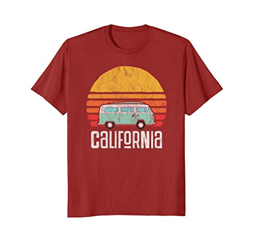 a Hippie Van Beach Bum Surfer T-Shirt Large Cranberry ()