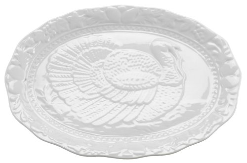 Glazed Ceramic Serving Platter (HIC Turkey Oversized Serving Platter, Embossed, Fine White Porcelain, 17-Inches)