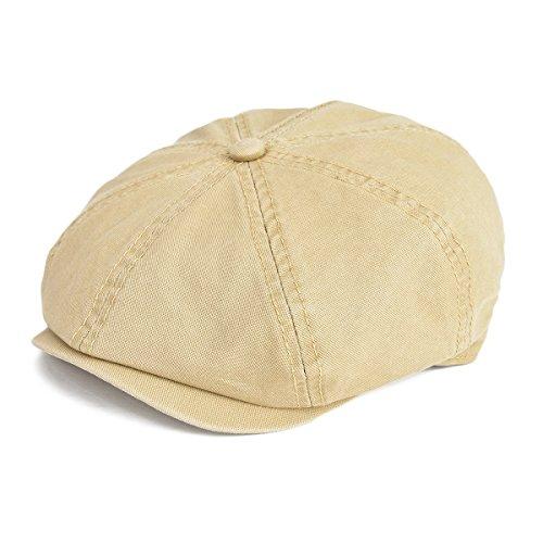 VOBOOM 100% Cotton Newsboy Caps 8 Pannel Cabbie hat Gatsby Hat (S/M=57-58cm=7 1/8- 7 1/4, Khaki)
