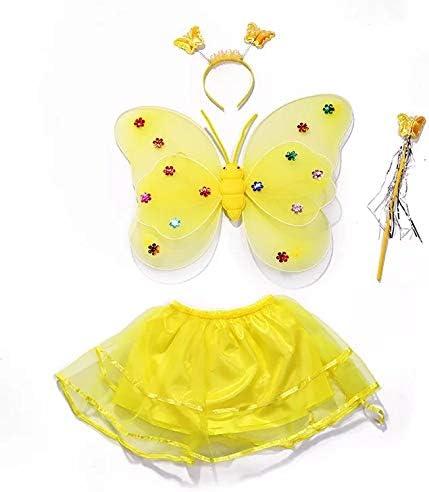 Bacchetta Magica e tut/ù Perfetto per Il Carnevale e Cosplay Ali Fascia per Capelli thematys Fata Costume Gialla 4 Pezzi Costumi Set per Bambini
