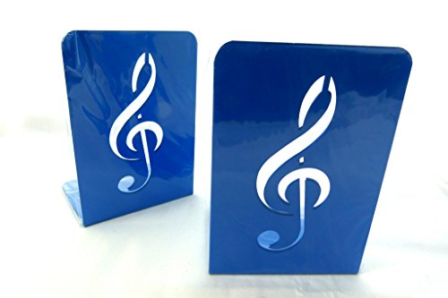 Music themed bookend a pair of solid blue treble clef design metal book stand 2 pieces - Treble clef bookends ...