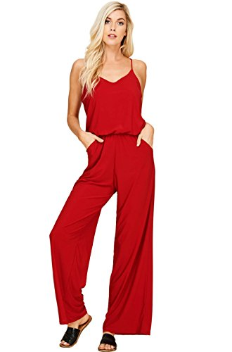 Annabelle Women's Plus Size Knit Solid Jumpsuit Featuring Solid V-Neck Strap Sleeveless Racer Back Elastic Waist Full Length with Pockets Red XXX-Large J8056P from Annabelle U.S.A