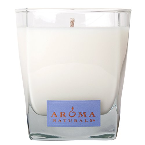 Aroma Naturals Tranquility Square Glass Soy Candle, Lavender, 6.8 Ounce