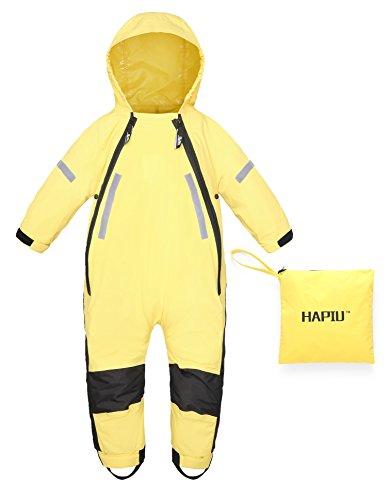 HAPIU Kids Toddler Rain Suit Muddy Buddy Waterproof Coverall,Yellow,2T,Upgraded by HAPIU