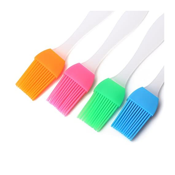 Devinal Set of 4 Silicone Basting Brush Pastry Brush for BBQ/Grilling/Baking Oil Brush, Pancake Brush, Oil Cream, Heat Resistant Kitchen Utensils Dishwasher Safe and Flexible Essential Cooking Gadget 1 PURE SILICONE: Made of silicone - non-toxic, flexible, durable and eco-friendly. HEAT RESISTANT: It can withstand heat up to 480 degrees fahrenheit SAFE TO USE: Safe to use in Oven, Microwave, Dishwasher & Freezer.