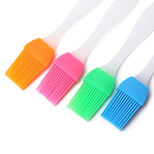 Devinal Set of 4 Silicone Basting Brush Pastry Brush for BBQ/Grilling/Baking Oil Brush, Pancake Brush, Oil Cream, Heat Resistant Kitchen Utensils Dishwasher Safe and Flexible Essential Cooking Gadget