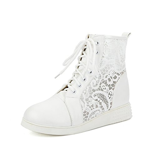 Out Lace Hollow Girls Boots White Bandage BalaMasa Leopard Pattern Imitated Leather q1wEE6C