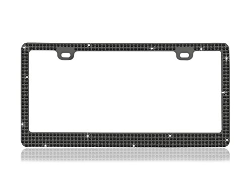 - Bling 6 Rows Black Glass Crystal Embedded Metal Smoke Gun Metal Color License Plate Frame with Free Caps