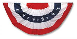 Valley Forge Flag 3 x 6 Foot Polycotton Stars and Stripes Pleated Full Fan Flag Bunting