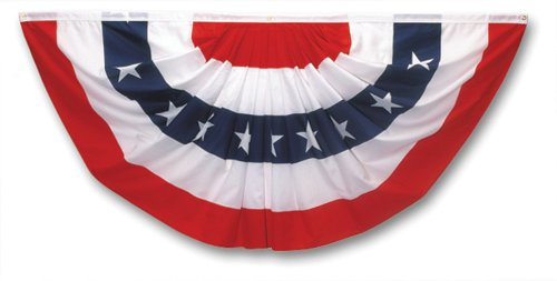 Valley Forge Flag 3' x 6' Polycotton Stars and Stripes Pleated Full Fan Flag Bunting (3 Stripe Bunting)