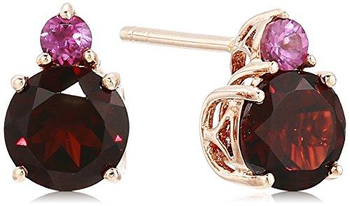 10k Rose Gold Rhodolite Garnet and Garnet Gemstone Stud Earr