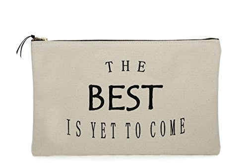 (Large Canvas Travel Portfolio / Cosmetic and Toiletry Bag with Screen Printed Quote The Best is Yet To Come)