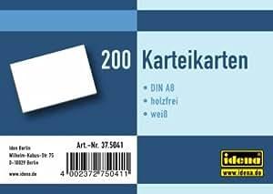 Idena - Fichas en blanco DIN A8 (5 paquetes con 200 fichas, 1000 unidades), color blanco
