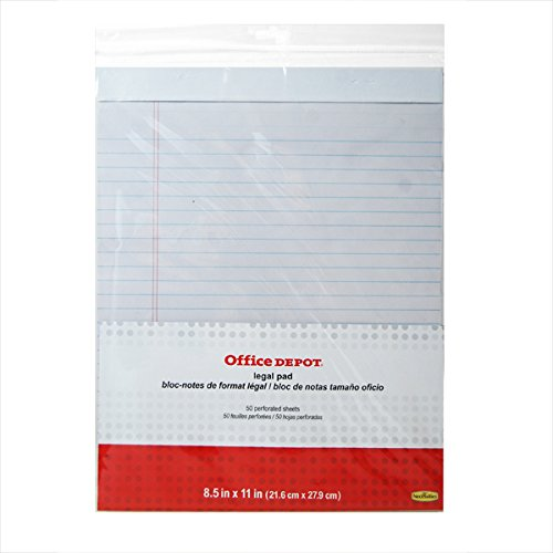 (6 Pack) White Lined Legal Ruled Pads (50 Pages Each, 8.5 x 11) Office Depot