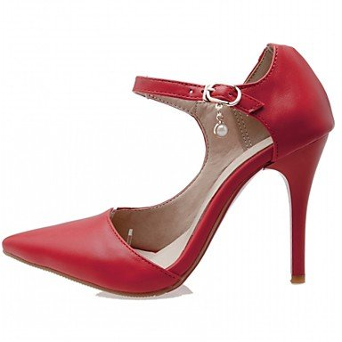 Le donne eleganti sandali SEXY DONNA PRIMAVERA tacchi cadono Comfort similpelle Office & Carriera Abito casual Stiletto Heel fibbia Nero Rosso Bianco , bianco , us5 / EU37 / UK4 big kids