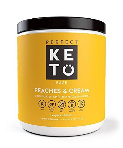 Perfect Keto Base Exogenous Ketone Supplement - Beta-Hydroxybutyrate (BHB) Salts Developed to Burn Fat, Increase Energy and Kickstart Ketosis. Peaches & Cream Flavor (211g)