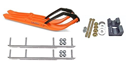 C&A Pro Orange XPT Snowmobile Skis w/ 9'' Shaper Bars Complete Kit Arctic Cat 2009 and Previous by Powersports Bundle