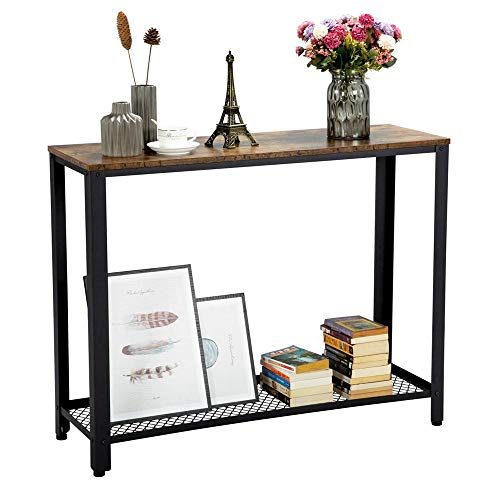 Topeakmart 2 Tier Industrial Console Sofa Side Table Bookshelf Entryway Accent Tables w Storage Shelf Living Room Entry Hall Table Furniture, Rustic Brown
