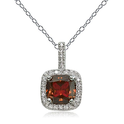 Sterling Silver Garnet & White Topaz Cushion-Cut Necklace (Garnet Necklace Cushion)