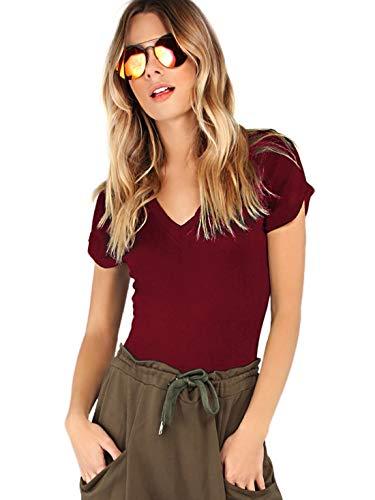 (MAKEMECHIC Women's Short Sleeve Tops Basic V-Neck Leotard Bodysuit Lingerie Burgundy S)