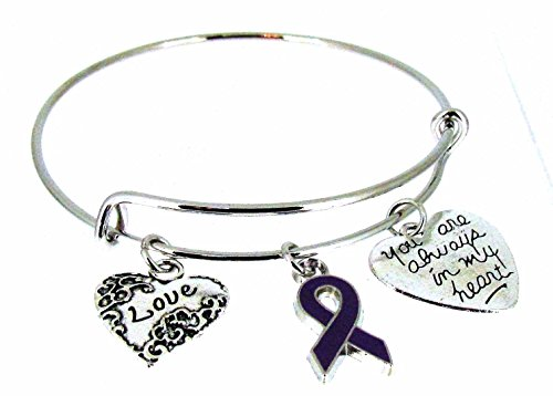 Expandable Bangle Purple Awareness Ribbon
