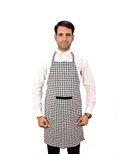 Switchon Branded Cotton Apron In Checks Free Size,Black And White,23 Inch,Cotton