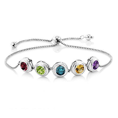Gem Stone King Build Your Tennis Bracelet – 925 Sterling Silver 5 Round Bezel Birthstones Tennis Bracelet