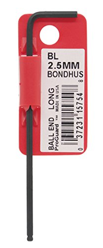 Bondhus 15754 2.5mm Ball End Tip Hex Key L-Wrench with ProGuard Finish, Tagged and Barcoded, Long Arm - Ball Hex L-wrench
