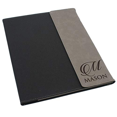 Custom Personalized Canvas Portfolio - Customized and Monogrammed Notepad, Padfolio, Business, Student, Teacher, Gift (Gray Flap)