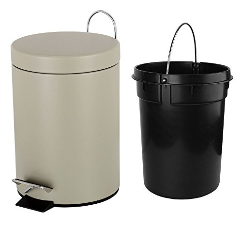 Fortune Candy Small Round Step Trash Can with Soft Close Lid,Removable Inner Wastebasket,Anti-Fingerprint Carbon Steel Garbage Can for Bathroom Bedroom Office,1.3 Gal/5L,Light Brown
