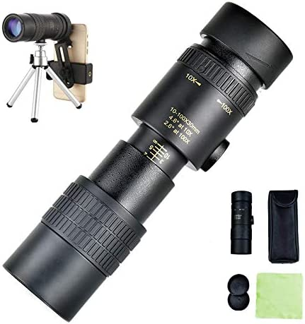 Compact Waterproof Telescope with Smartphone Adapter Tripod Suit for Hiking Camping Bird Watching Best Gifts for Men 4K 10-300X40mm Super Telephoto Zoom Monocular Telescope