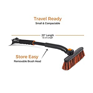 Snow Moover Small Car Brush and Ice Scraper with Foam Grip | Auto Snow Removal | Small Car Windshield | Lightweight Tough Durable