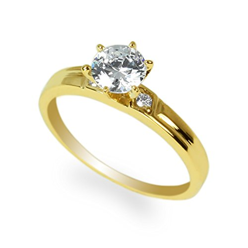 Gold Fancy Solitaire (JamesJenny Ladies 10K Yellow Gold 1.1ct Round CZ Fancy Wedding Solitaire Ring Size)