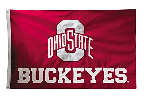 BSI NCAA Ohio State Buckeyes 2-Sided Nylon Applique Flag with Grommets, 3' x 5', Red