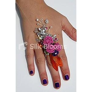 Silk Blooms Ltd Fuchsia Mini Rose Wedding Prom Ring Corsage w/Crystal Brooch 107