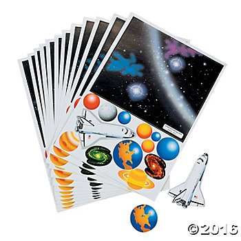2 Dozen (24) Make a SOLAR SYSTEM Sticker Sheets - Outer Space Planets ACTIVITY - Science PARTY FAVORS - Classroom
