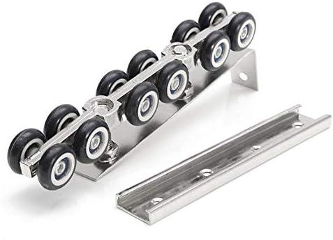Furniture Component 1 Pair//Set Cold Rolled Steel Sliding Wooden Door Closet Hardware Kit Door Wheels Roller 12 Wheels Hangers Roller Hardware Parts