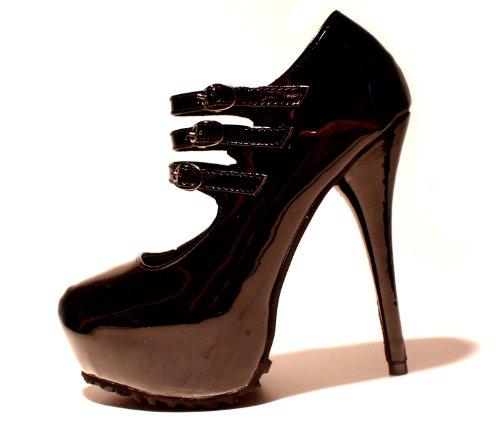 Erogance Lack Plateau High Heels - Zapatos de vestir de charol para mujer negro - negro