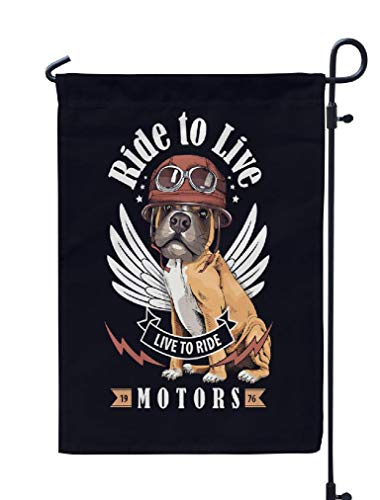 KJONG Dog Garden Flag,12x18 inch Seasonal Flag with Dog Biker Helmet Black Live Lettering Inspiration Poster Weatherproof Double Sided Outdoor Flags for Yard Patio House Decorations