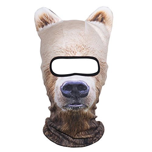 AXBXCX 3D Animal Ears Fleece Thermal Neck Warmer Windproof Hood Cover Face Mask Protection for Ski Snowboard Snowmobile Halloween Winter Cold Weather Brown Bear MDD-12